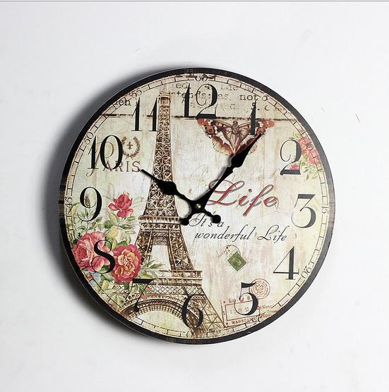 1 picece retro vintage rustic wooden home decorative Eiffel wall clock,antique clock, clock designed on the wall