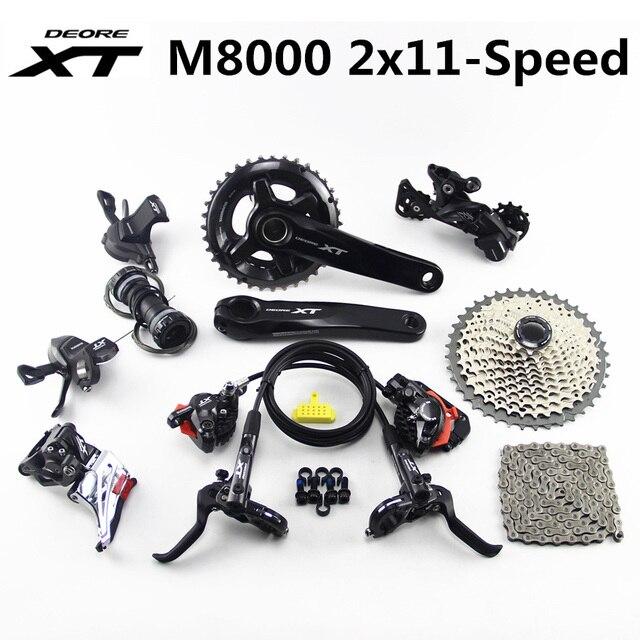 SHIMANO DEORE XT M8000 Groupset 26 36T 28 38T 170 175 مللي متر Crankset دراجة هوائية جبلية 2x11 Speed 40T 42T 46T M8000 Derailleur الفرامل