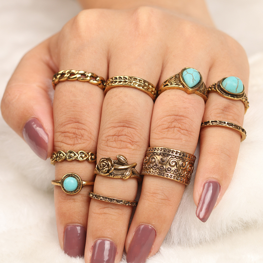 15PcsSet Fashion Vintage Ring Set Femme Stone Silver Midi Finger Rings Boho Women Jewelry Knuckle Ring Set