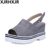 XJRHXJR 2018 New Sandals Shoes Woman Fashion Wedges Heels Open Toe Dress Shoes Ladies Platform High