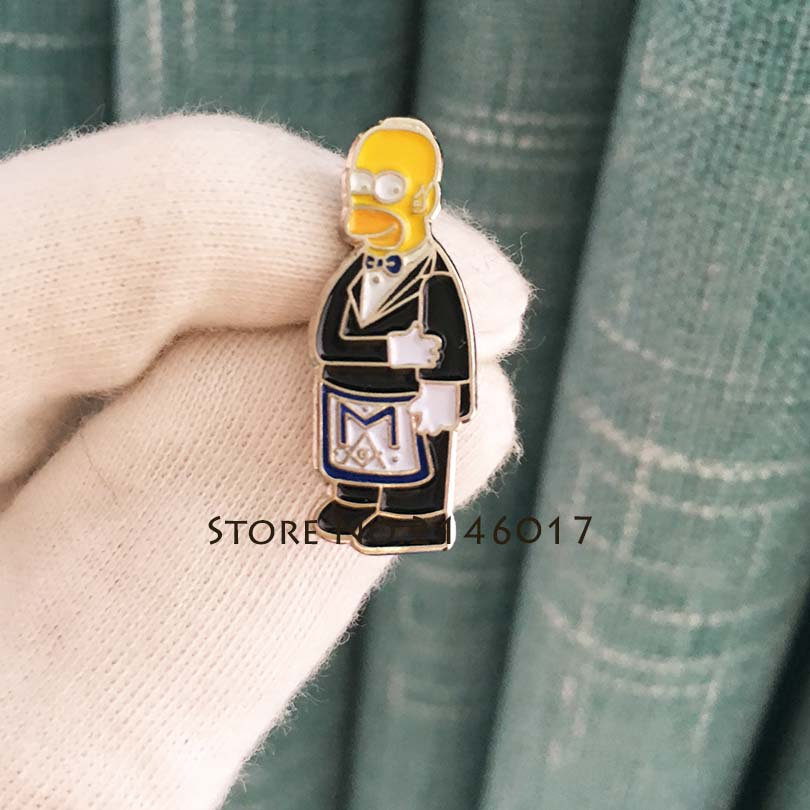 Masonic Apron Lapel Pin Cartoon Simpsons Ceremonial Suit Brooch New Arrival Hot Soft Enamel Pins Badge Metal Craft <font><b>Meme</b></font> Gift image