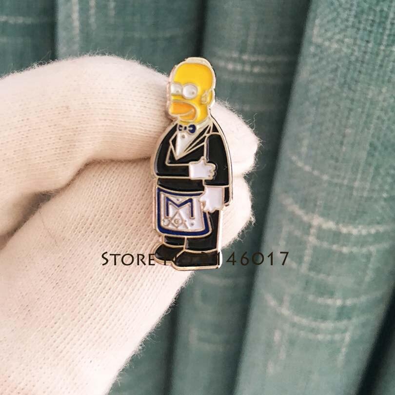 US $6 99 |Masonic Apron Lapel Pin Cartoon Simpsons Ceremonial Suit Brooch  New Arrival Hot Soft Enamel Pins Badge Metal Craft Meme Gift-in Pins &