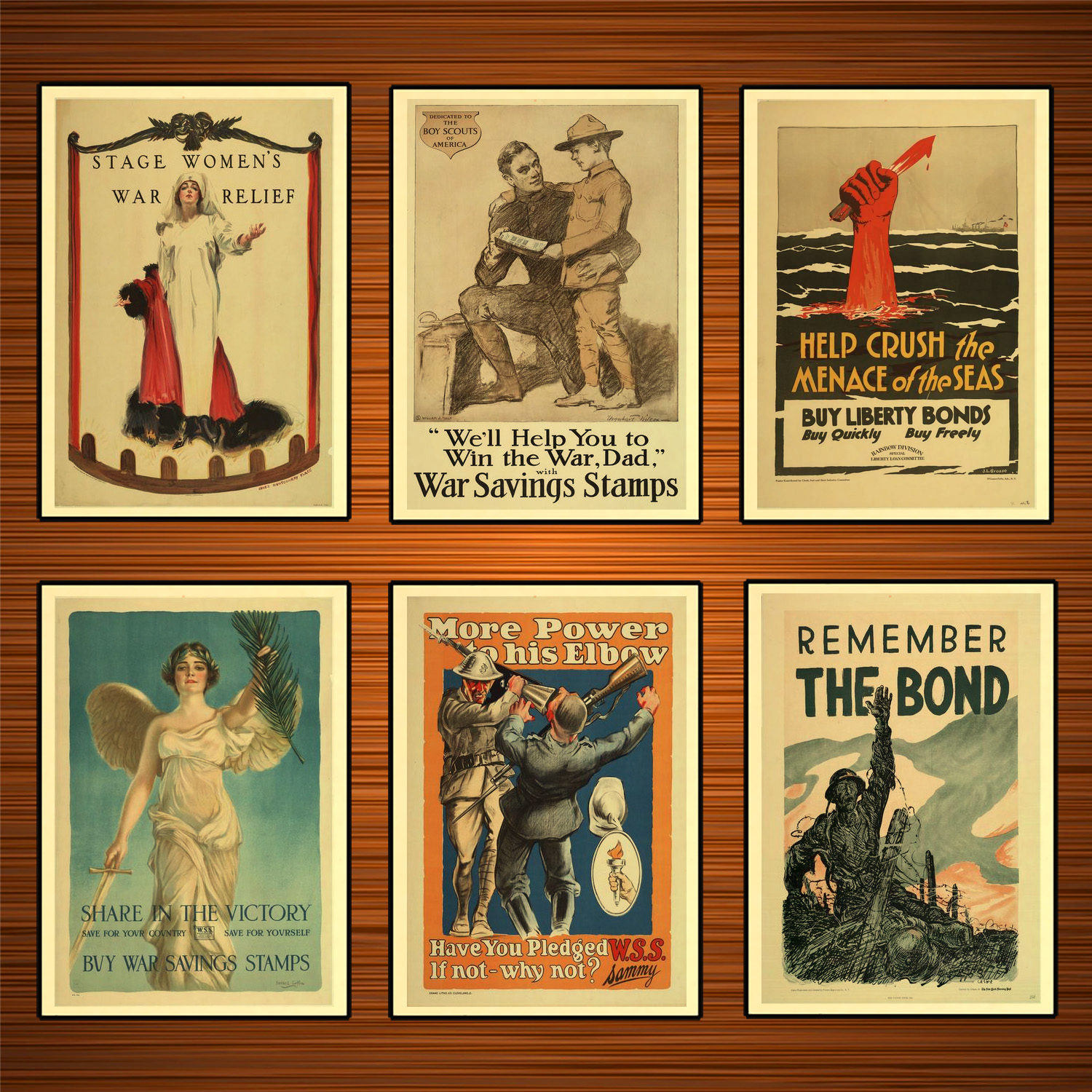 Vintage 1900s USA WW1 Propaganda Poster Remember The Bond Classic Canvas Paintings Wall Stickers Home Decor Gift image