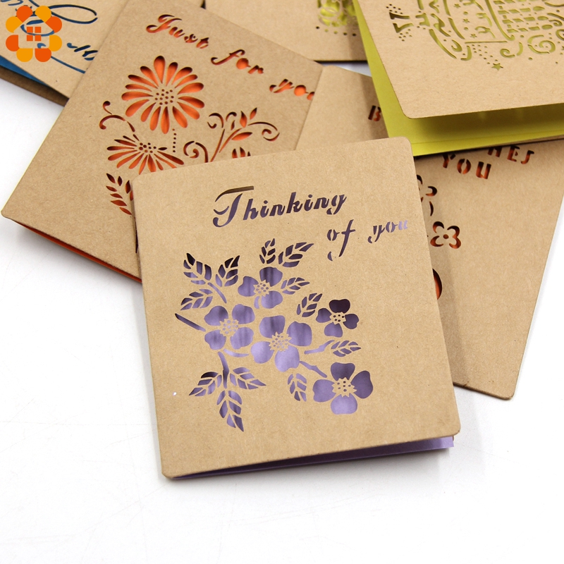 8PCS/Lot Laser Cut Vintage Kraft Paper Envelope With Invitation Card For Wedding Birthday Party Greeting/Blessing Card Supplies
