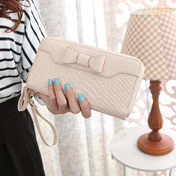 Bow-Decorated Cute Leather Women's Wristlet Bags and Wallets Hot Promotions New Arrivals Women's Wallets Color: Beige