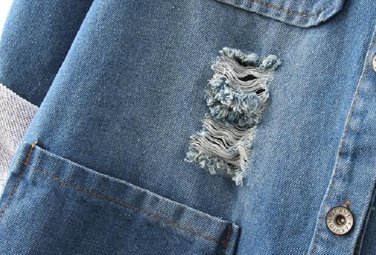 Новая Мода Весна Осень женщины с длинным рукавом Roll Up джинсы Пальто женский повседневная Ripped длинные джинсовые Куртки верхняя одежда 5XL T52920