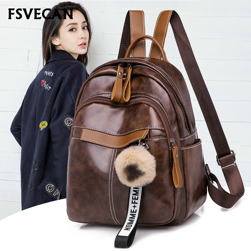 New Simple Style Women PU Leather Backpacks For Teenage Girls School Bags Leisure Student Shoulder bag