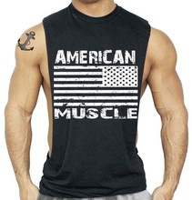 3f01e72896 Projeto Da Bandeira americana Homens Fitness Musculação Regatas Undershirt  roupas sportswear Desgaste Gorila Colete suspiro Longarina