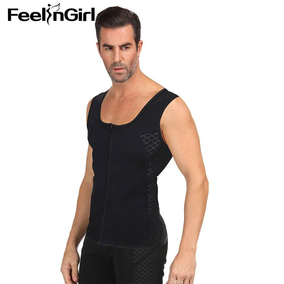 NOVECASA Neoprene Sweat Vest Men with Zipper for Weightloss Waist Trainer Hot Corset Compression Sweat Vest Body Shaper Zipper Slimming Tank Top Workout Shirt