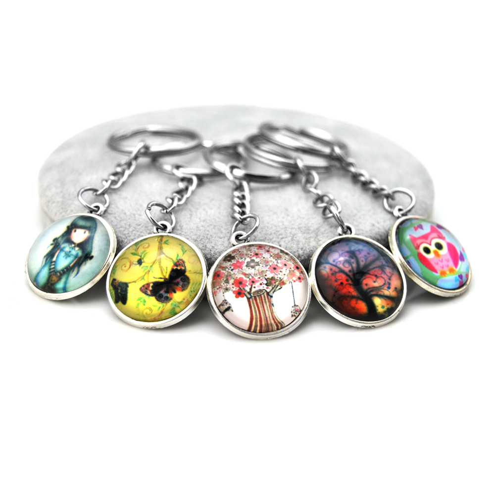 Brand New Glass Carbochon Anime Owl Keychain Keyring Women Chaveiro Trinket Tree Key Chain Ring Jewelry Souvenirs Gift Llaveros