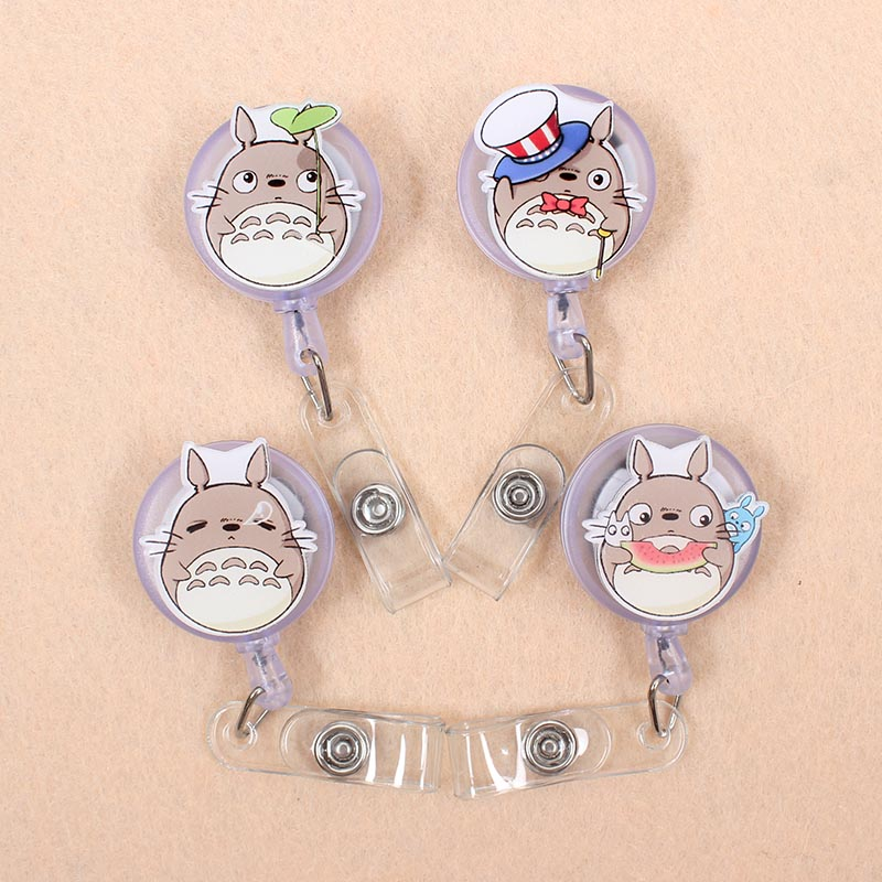 Creative 60cm Cartoon Acrylic Totoro Identity Retractable Badge Reel Student Nurse Doctor Exhibition Enfermera Name Card Chest