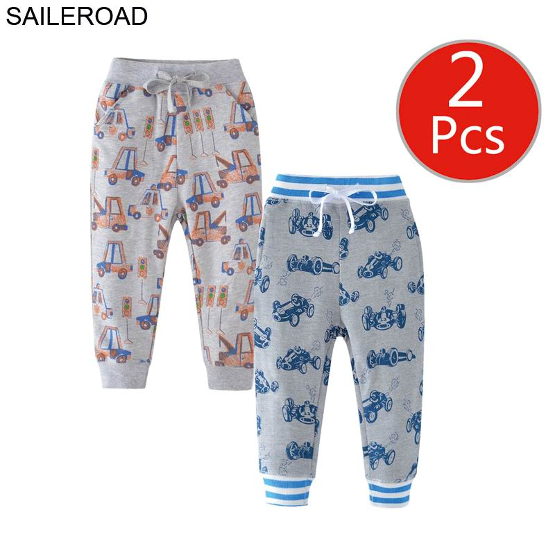 Image 2 - SAILEROAD 2pcs Kids Trousers Pants with Car Print 2019 Boys Sweatpants Full Length Spring Children Sweatpants for Boys Clothes-in Pants from Mother & Kids