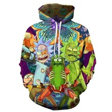 2017 New 3d hoodies Men/women Pullovers Sweatshirts cartoon rick and morty Print pickle rick Hooded Tracksuits Hoodie