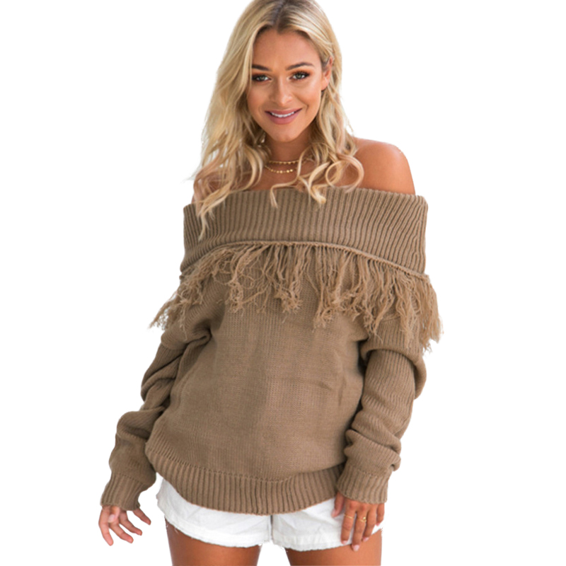 cf50a3a5ee2c0 2017 Autumn Winter Sexy Off Shoulder Pullovers Women Sweaters Knitted Tops  Tassels Ribbed Long Sleeve Loose Coat female jumpers – The Woman Fashion