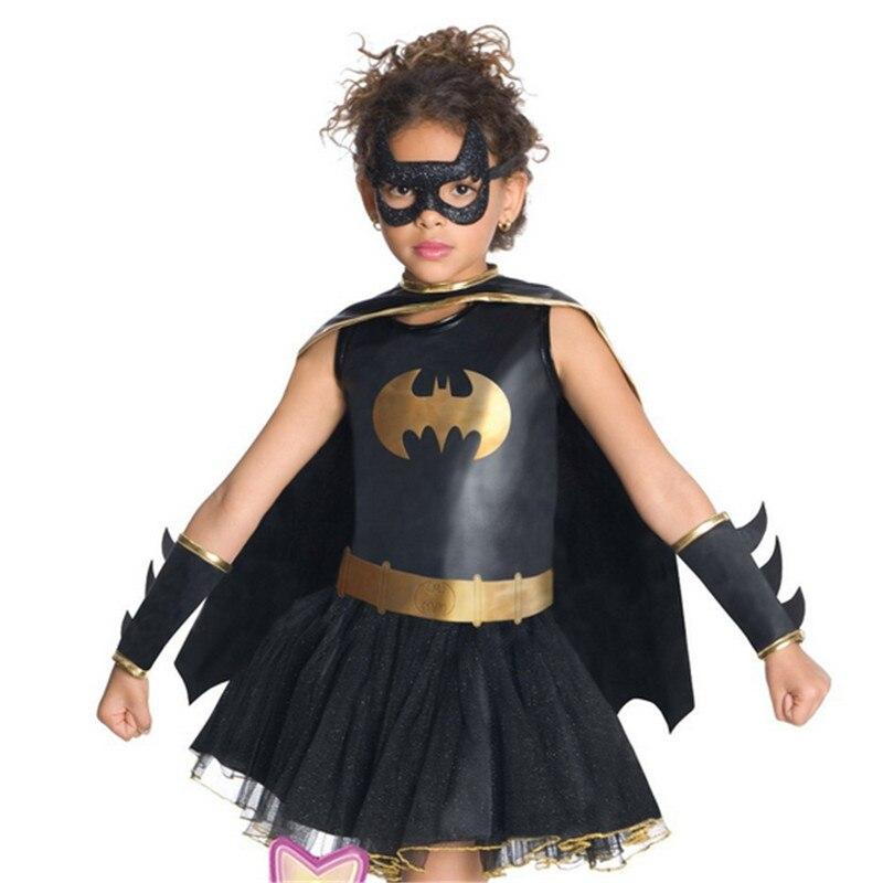2018 New high quality black Girl Batman Costume Performance Dancewear Dress Batman Cosplay clothing Halloween Costume For Kids