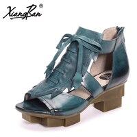 Xiangban Fashion Open Toe Women Wedge Sandals Platform Women Casual Shoes Summer Black Rome Sandals Genuine