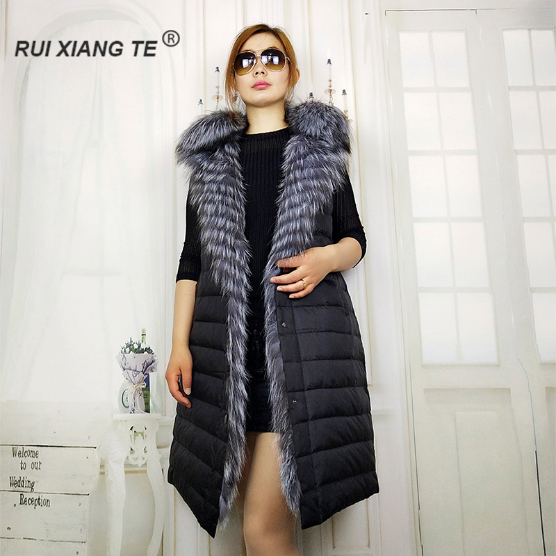 GRATIS SÄNDNING RuiXiangTe laides äkta räv päls väst nytt mode - Damkläder