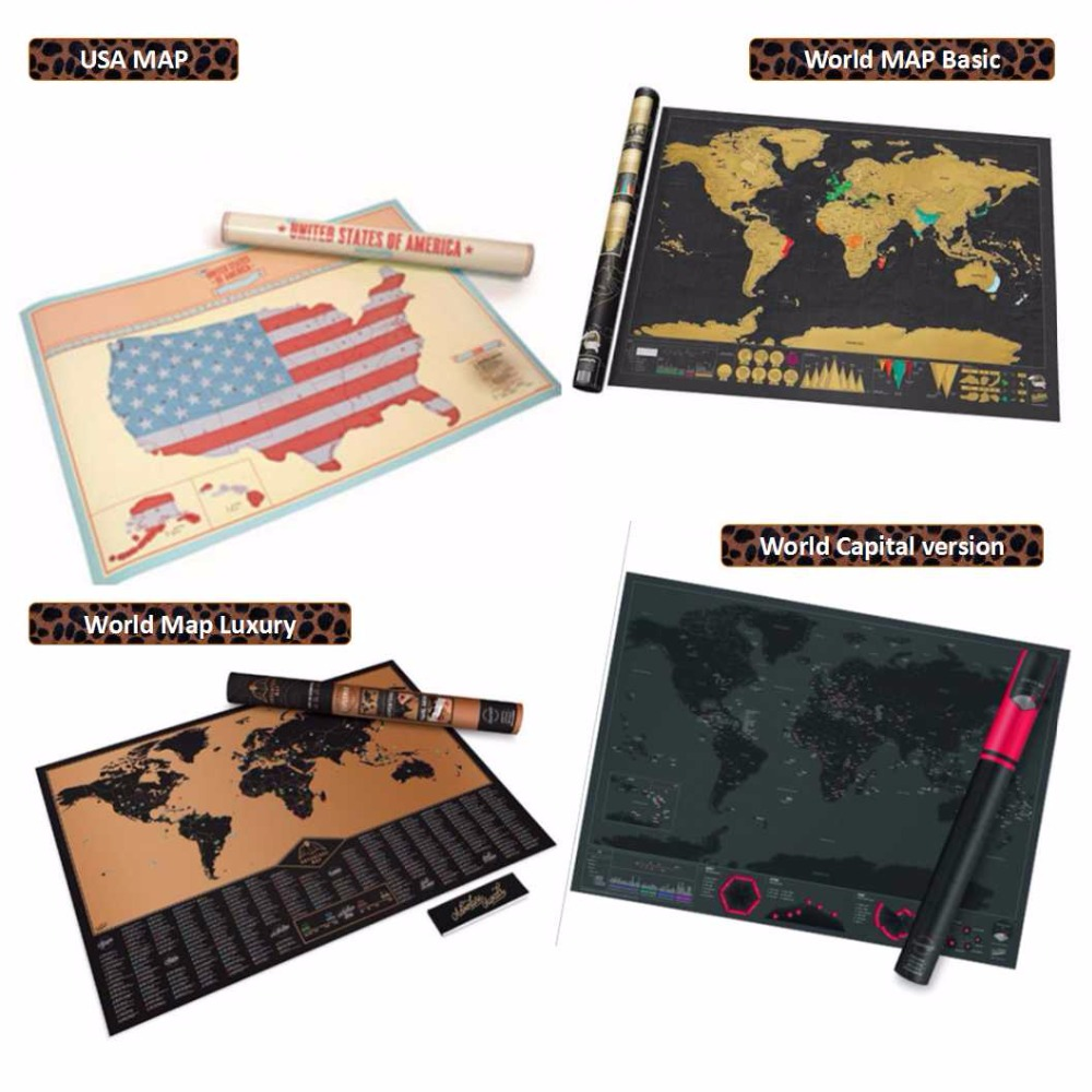 Exploration Travel Logue trip USA America/World map Capital trip scratch Wallpaper creative toy poster DIY adventurer fans gift