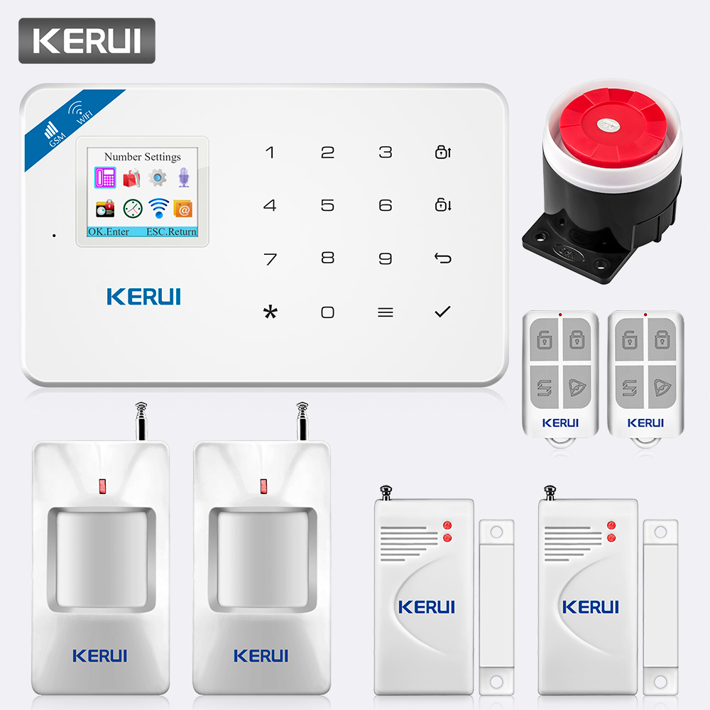 KERUI W18 TFT Screen WIFI GSM Home Security Alarm System PIR Motion Detector APP Control Door Window Detector Alarm System Kit