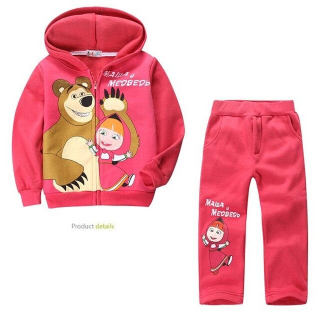 New Girls Clothing Set Cartoon Masha And Bear Warm Girls Clothes Casual Hoody Full Sleeve Coat+Pants Suit Kids Clothing