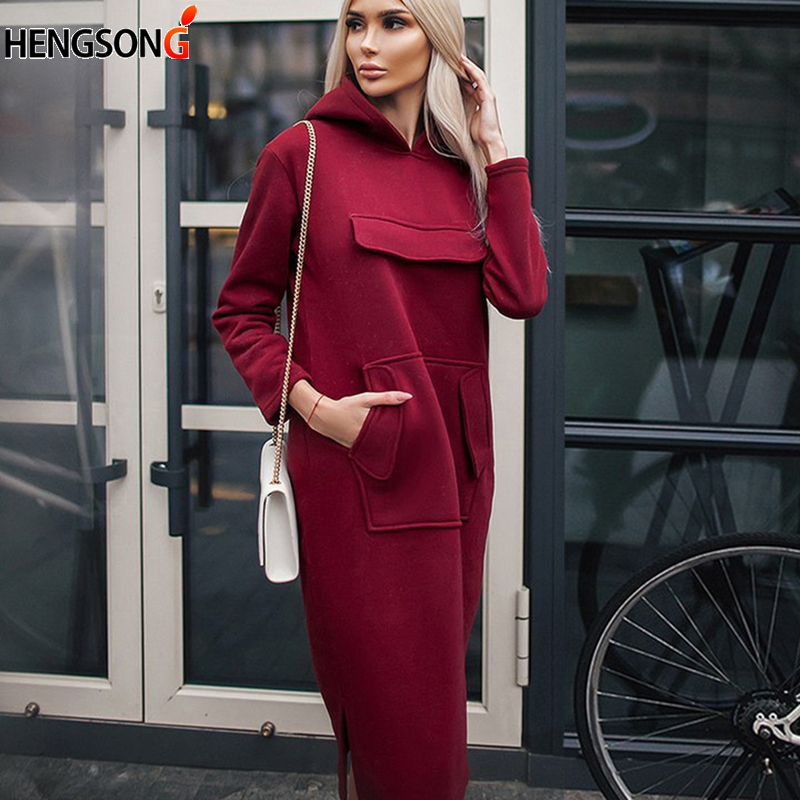 2018 Autumn Spring Women Long Hoodies Front Pockets Casual Loose Pullovers Woman Female Sweatshirt Long Dress Hoodie