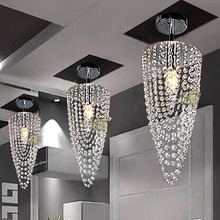 LED 1-light Chrome K9 Modern crystal chandelier lighting D17*H45cm AC110V-256V Transparent color