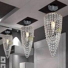 LED 1-light Chrome Modern crystal chandelier lighting D17*H45cm AC110V-256V Transparent color