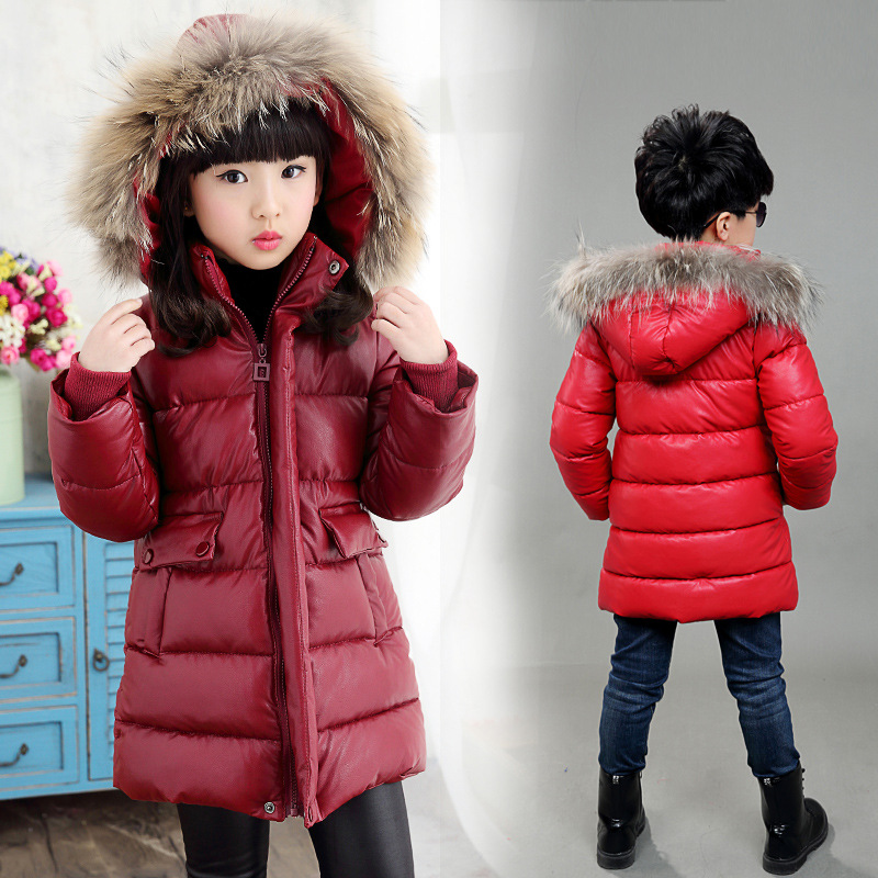Children Outerwear Warm Coat Kids Clothes PU Leather Waterproof Windproof Thicken Boys Girls Hooded Jackets Autumn and Winter pu leather closure color block hooded coat