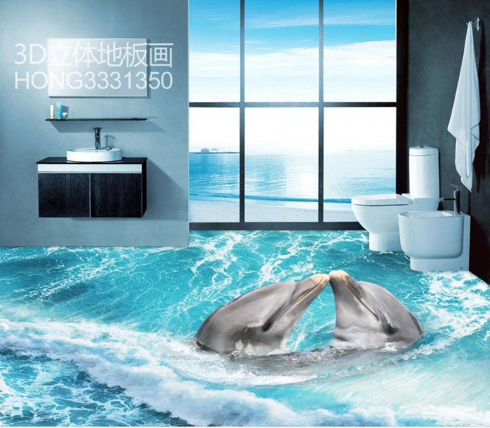 Buy 3d floor tiles 3d beach pvc waterproof floor custom photo self adhesive 3d Bathroom design companies in india