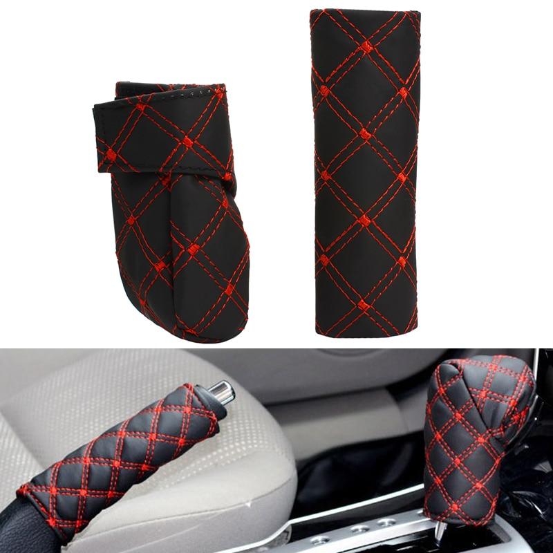 Venda quente Universal PU Couro Auto Car Tampa de Freio De Mão + - Acessórios interiores do carro