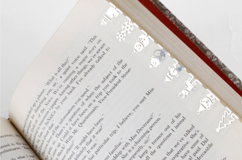 box packed christmas bookmark mini metal christmas book line marker as christmas book marker for reading accessory in bookmark from office school