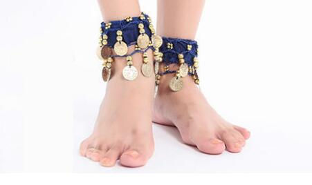 2pcs Women Belly Dance Ankle Cuff Wrist Bracelet Anklets Indian Gypsy Ankle Chain Belly Dancing Accessories