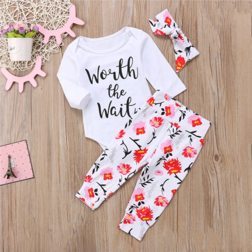 3Pcs Newborn Clothing Set Cute Toddler Kids Baby Girls Clothes Romper Tops Pants Children Outfits Set in Clothing Sets from Mother Kids