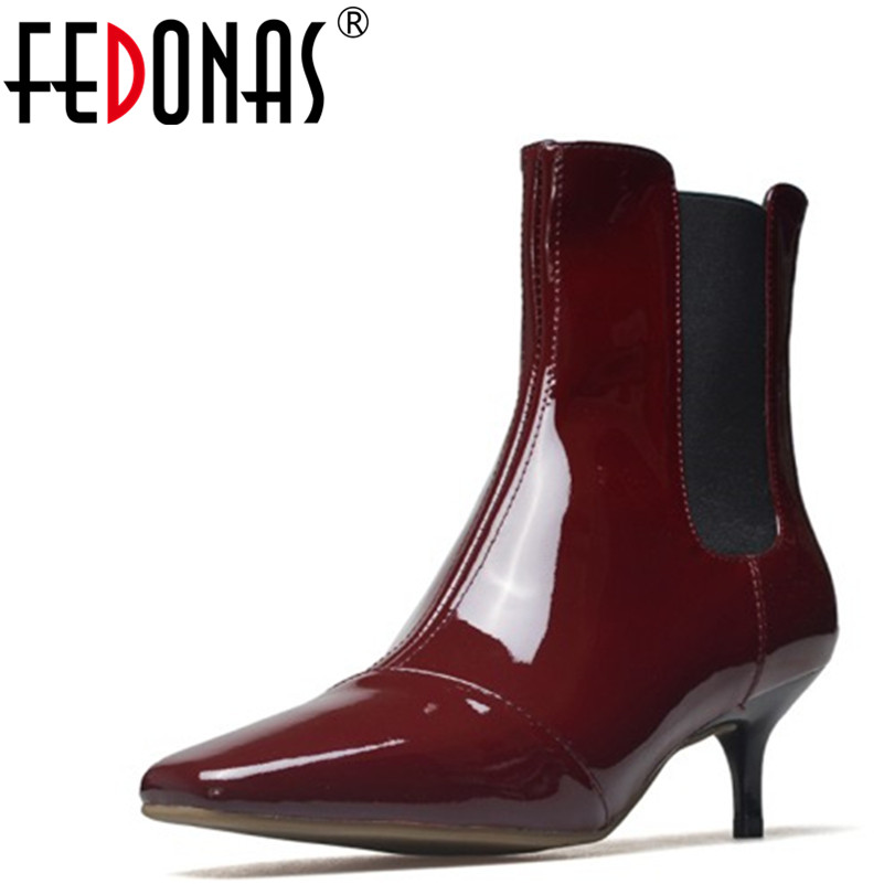 FEDONAS New Fashion Women Genuine Leather Ankle Boots Brand High Heels Ladies Autumn Sexy Pointed Toe Shoes Woman Party Shoes 2018 new fashion spring autumn genuine leather motorcycle boots shoes woman pointed toe ankle boots chunky mid heels women shoes