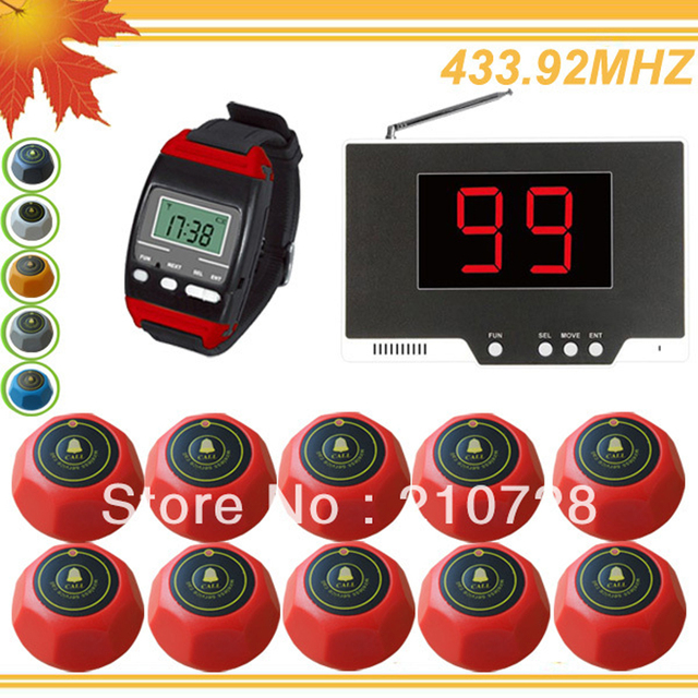 433.92MHZ numbers tables restaurant watch receiver LED display wireless table call button with 99P+650+10M DHL free shipping