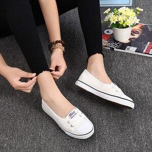 Image 2 - Frauen Schuhe Mode Bequeme Sport Turnschuhe Weibliche Wohnungen Trend Atmungsaktiv Casual Leinwand Flache Schuhe frauen Turnschuhe