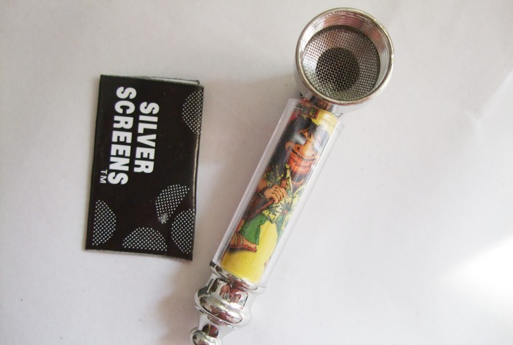 New 1pc Rasta Metal Smoking Pipes Tobacco pipe with Metal Pipe Screen 70MM Long Made of metal
