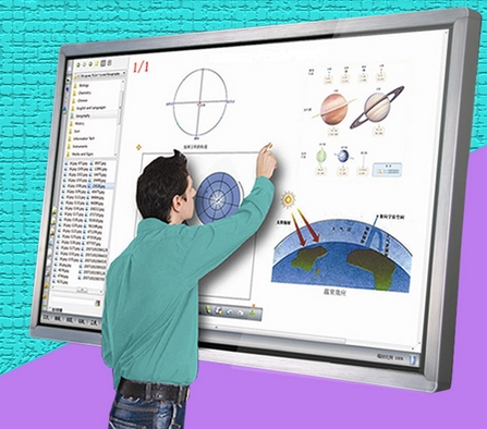 55 inch wall mounted kiosk HD LCD touch all in one TV computer signage kiosk Electronic whiteboard image