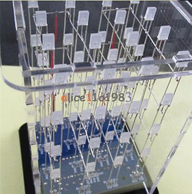 Синий Комплекты Электроники 4x4x4 3D LED Куб оон щит СВЕТОДИОДНЫХ DIY + Чехол