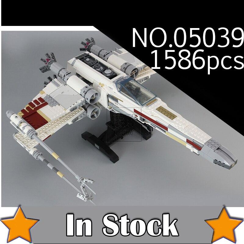 NEW 05039 Star 1586 Pcs Wars UCS The X-wing Rebel Red Five X-wing Starfighter Set Building Blocks Bricks 10240 lepin new style 0382 star red
