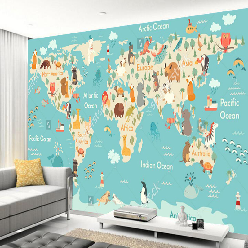 Wall world map mural home design for Wall map for kids room