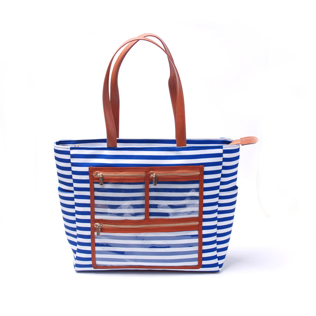 Canvas Stripe Essential Oils Handbag Pvc Display Tote Bag With Sun Tan Oil Bottle Pockets Dom103576