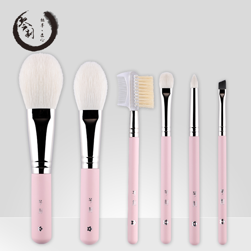 Handmade Makeup Brushes Set 6pcs Soft Goat Hair Make up Face Powder Blush Eye Shadow Brush Pink Handle Cosmetic Tools professional 10pcs blue silver jessup makeup brushes sets beauty kit foundation kabuki precision brush cosmetics make up tools