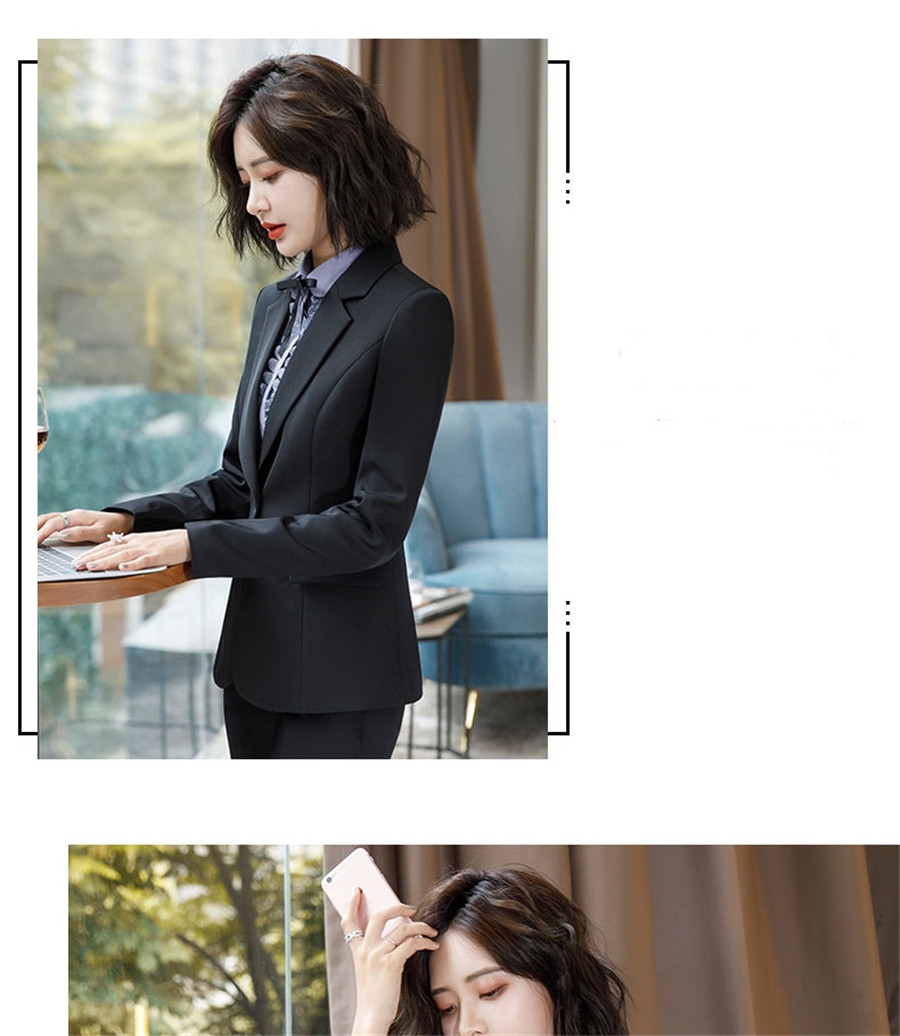 Work Fashion Pant Suits 2 Piece Set for Women singel Breasted solid color Blazer Jacket&Trouser Office Lady Suit Feminino 39