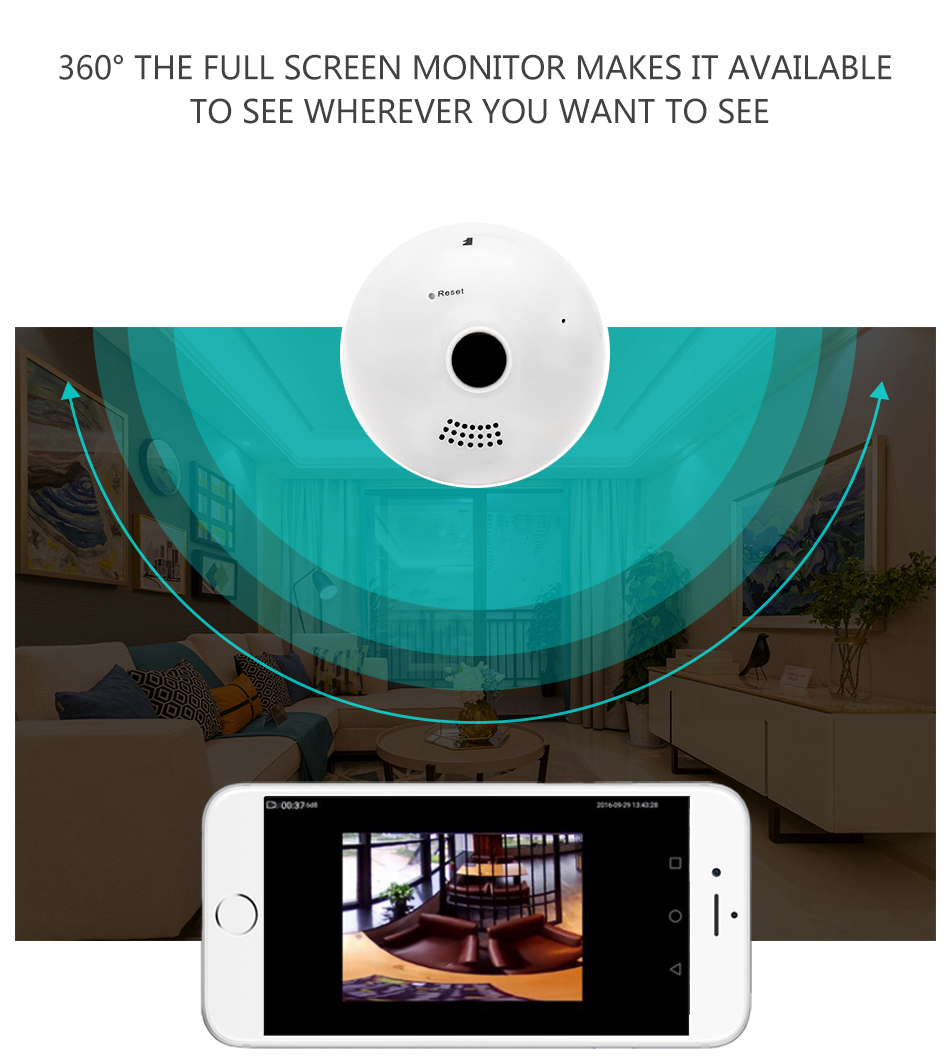 Wistino 960P Wireless VR Panoramic IP Camera Bulb Light Wifi FishEye 360 degree CCTV Surveillance Security Monitor Comone 1 (2)