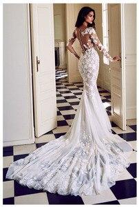 Image 2 - LORIE vestido de novia de manga larga, corte sirena, con apliques transparentes, blanco marfil, Sexy, cola de barrido, vestido de novia