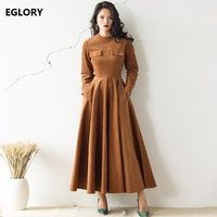 High Quality Brand New Autumn Winter Spring Plus Size Clothes Women Stand Collar Pocket Flap Long SLeeve Maxi Dress Velvet XXL