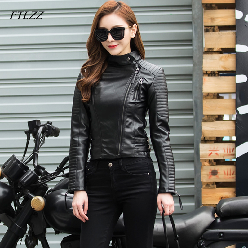 FTLZZ Women Basic Faux   Leather   Jacket Autumn Winter Soft Pu   Leather   Punk Coats Female Short Bomber   Leather   Jackets