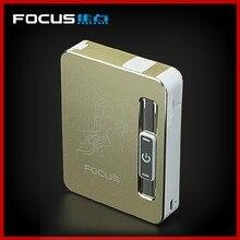 โฟกัสไฟแช็กบุหรี่กล่องWindproofอลูมิเนียมอัตโนมัติUSBไฟฟ้าเบาตัวอักษรผู้ชายของขวัญที่ดีที่สุด