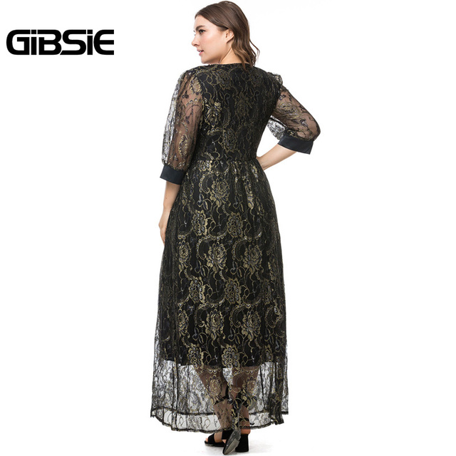 GIBSIE Plus Size Spring Summer Women V-Neck Half Sleeve Lace Long Dress Party Elegant Black White High Waist Dress Vestidos 5